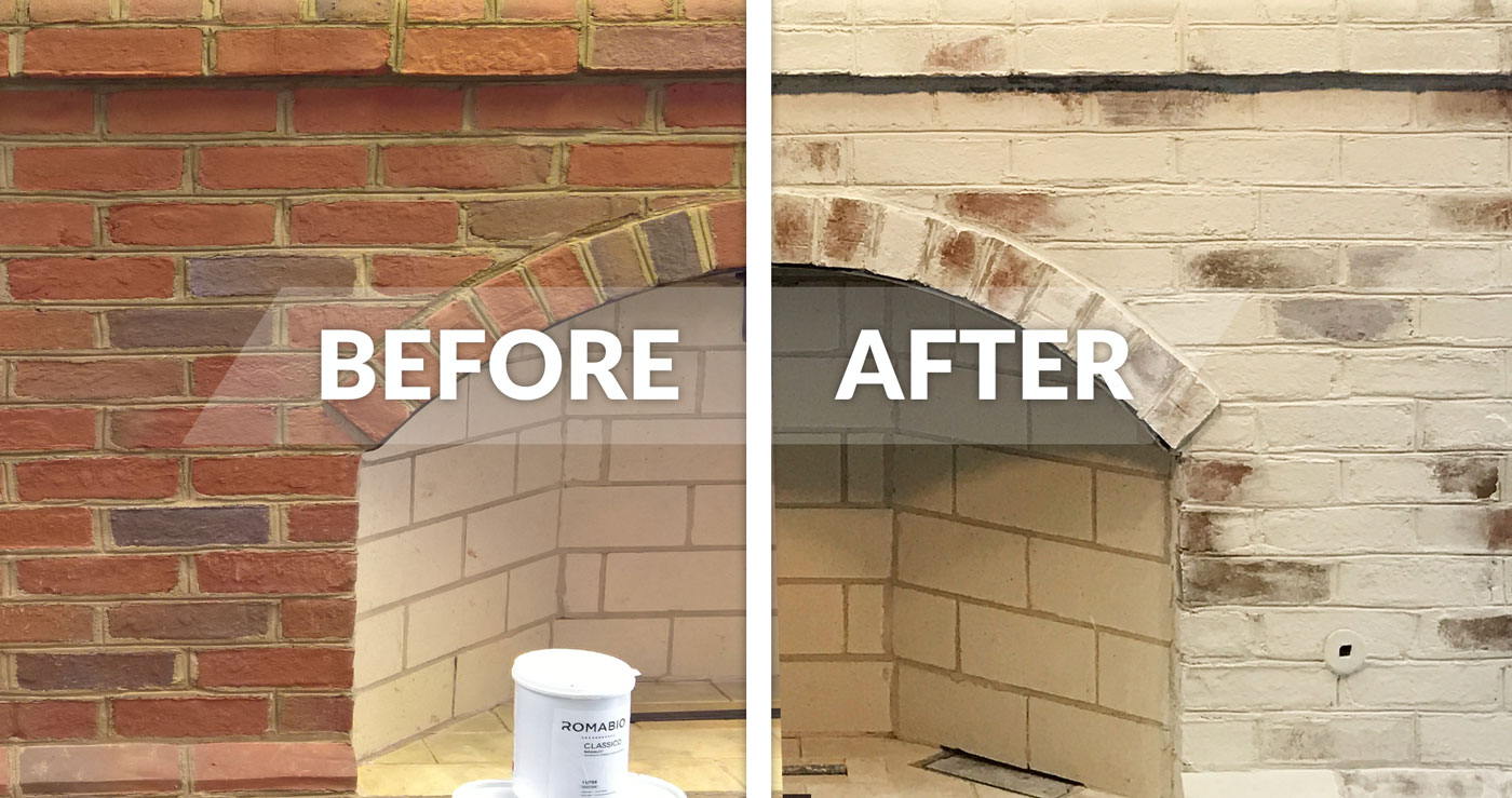 How To Whitewash Your Brick Fireplace With Limewash Paint Romabio